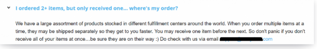 faq page dropshipping with Aliexpress
