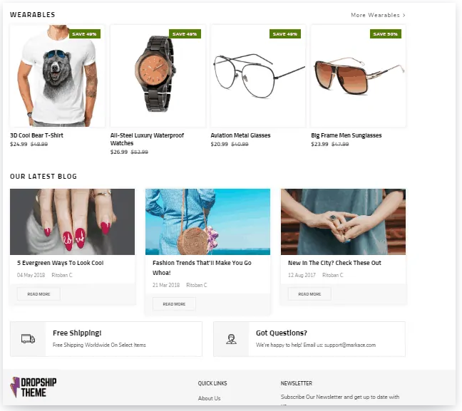 demo shopify dropshipping theme