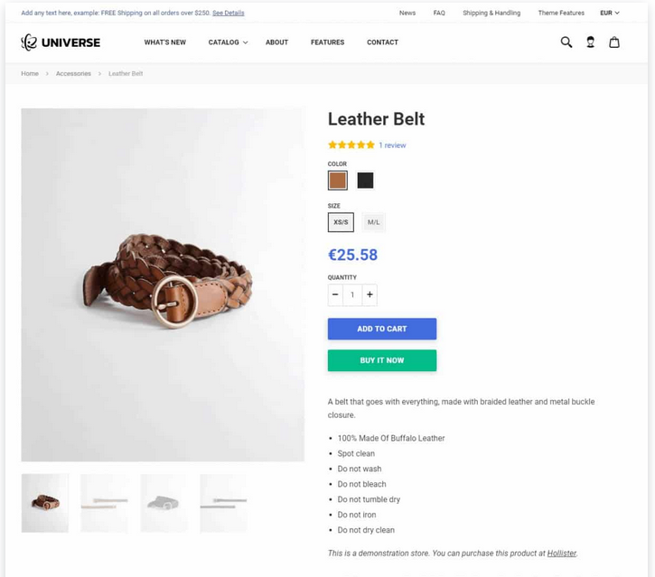 product page theme